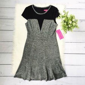 NWT Betsey Johnson Gray Black Midi Dress